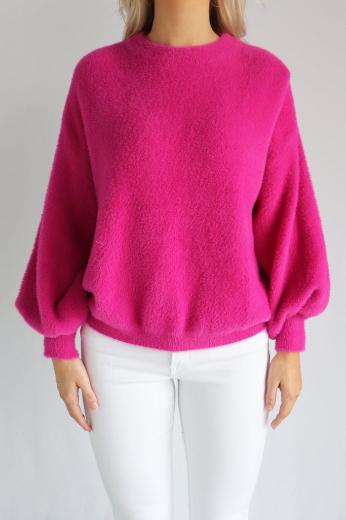 Fuzzy magenta sweater