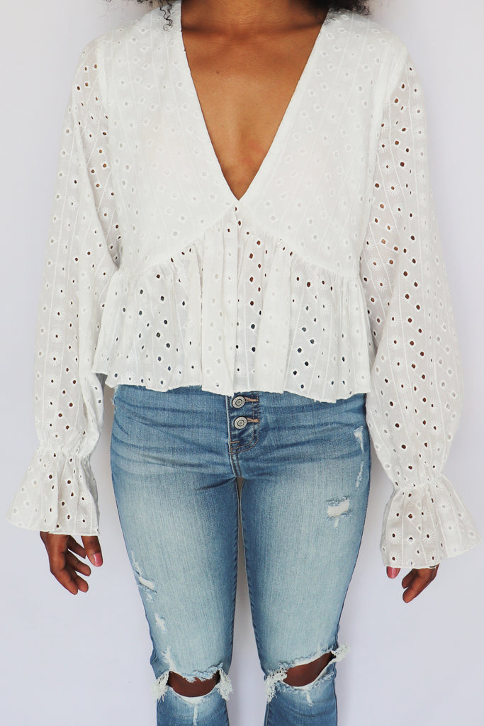 BUTTERFLY BABE EYELET LACE TOP | SAINTS & HEARTS Blu Spero online shopping