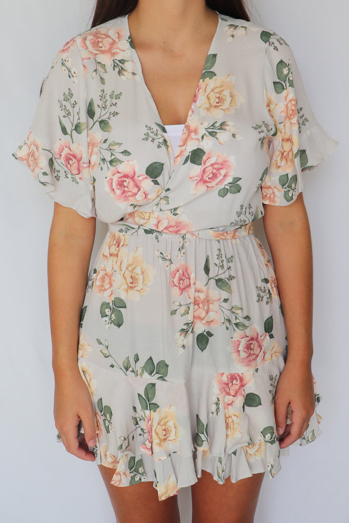 JUST PEACHY FLORAL PRINT DRESS | Olivaceous Blu Spero online shopping