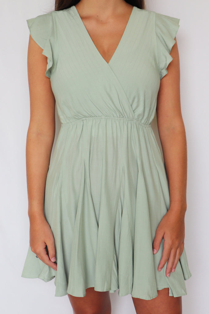 LOVERS IN THE NIGHT SAGE DRESS