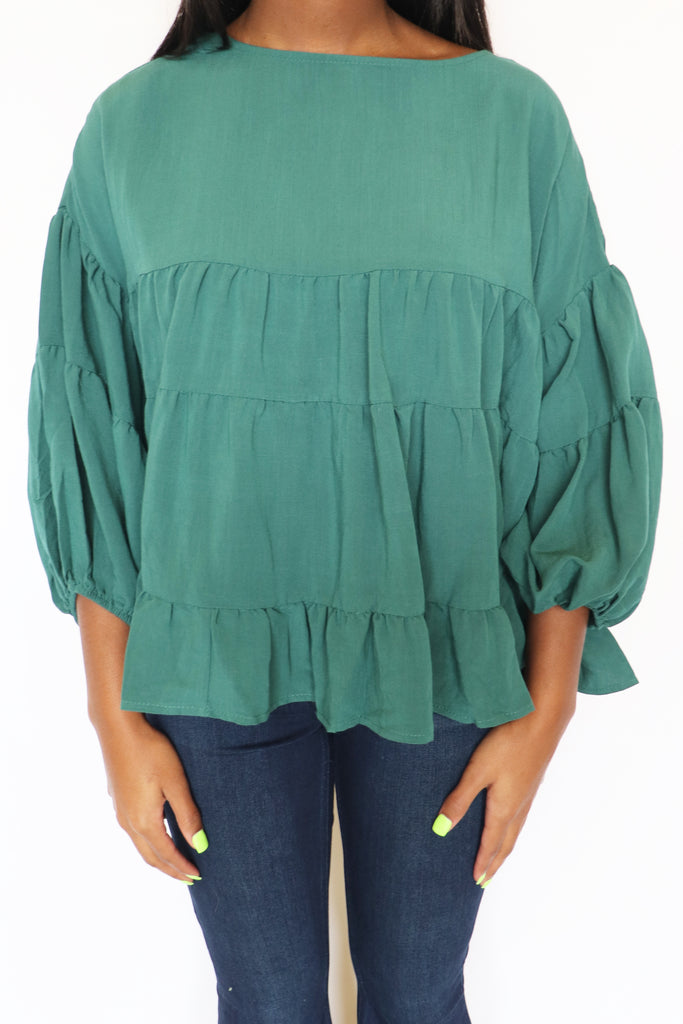 EASY MOVEMENT GREEN TOP | IN THE BEGINNING Blu Spero online shopping