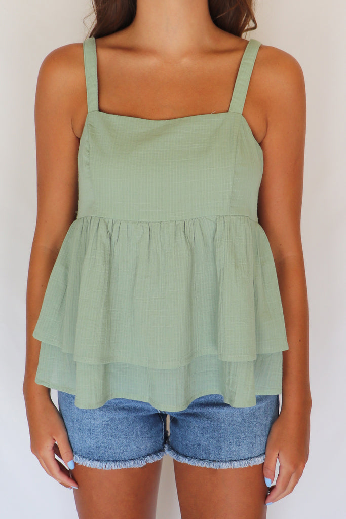 SWEET MELODY SAGE BABYDOLL TOP