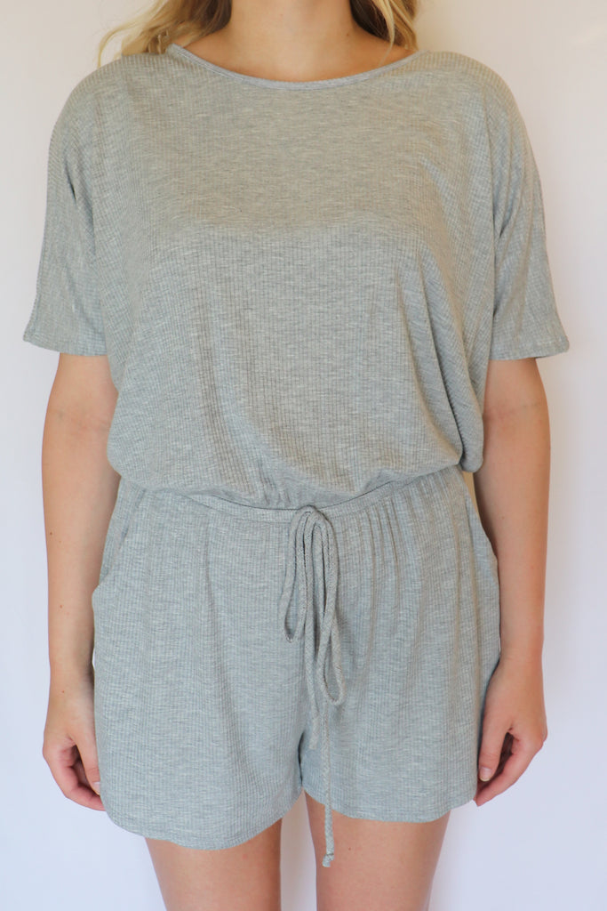 BACK IN TOWN HEATHER GREY ROMPER | LE LIS Blu Spero online shopping