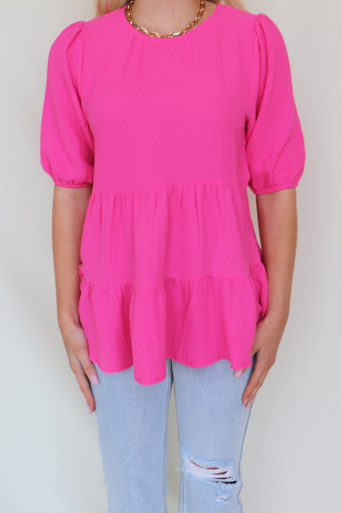 TELLING STORIES PINK TIERED TOP