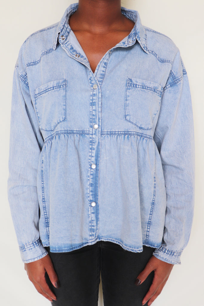BACK TO BACK CHAMBRAY DENIM BLOUSE | Peach Love Blu Spero online shopping