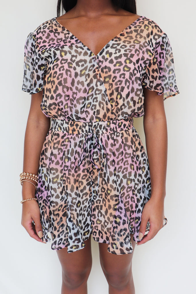 ELECTRIC COLOR ANIMAL PRINT ROMPER