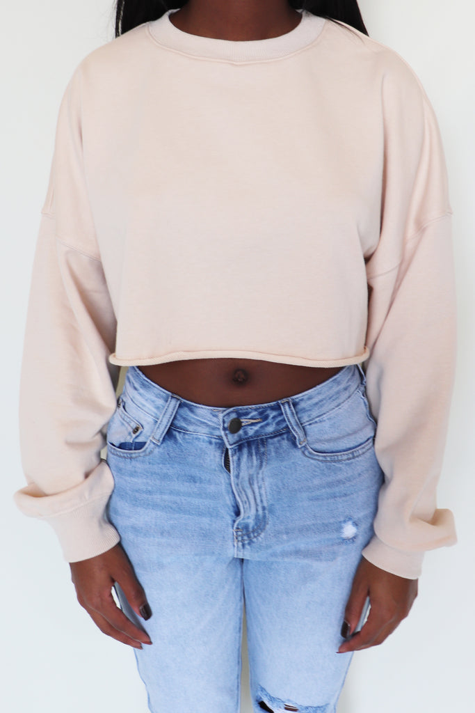 WATCH ME WALK CROPPED SWEATSHIRT - 2 COLORS | COTTON CANDY Blu Spero online shopping