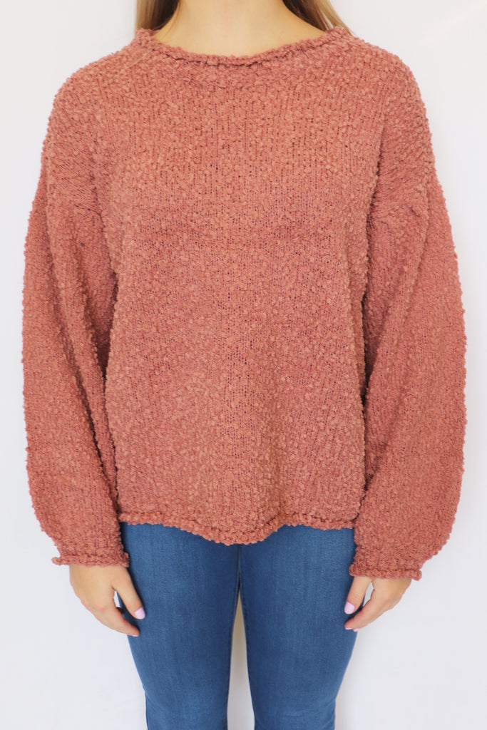FALL WEATHER POPCORN PULLOVER | POL CLOTHING Blu Spero online shopping