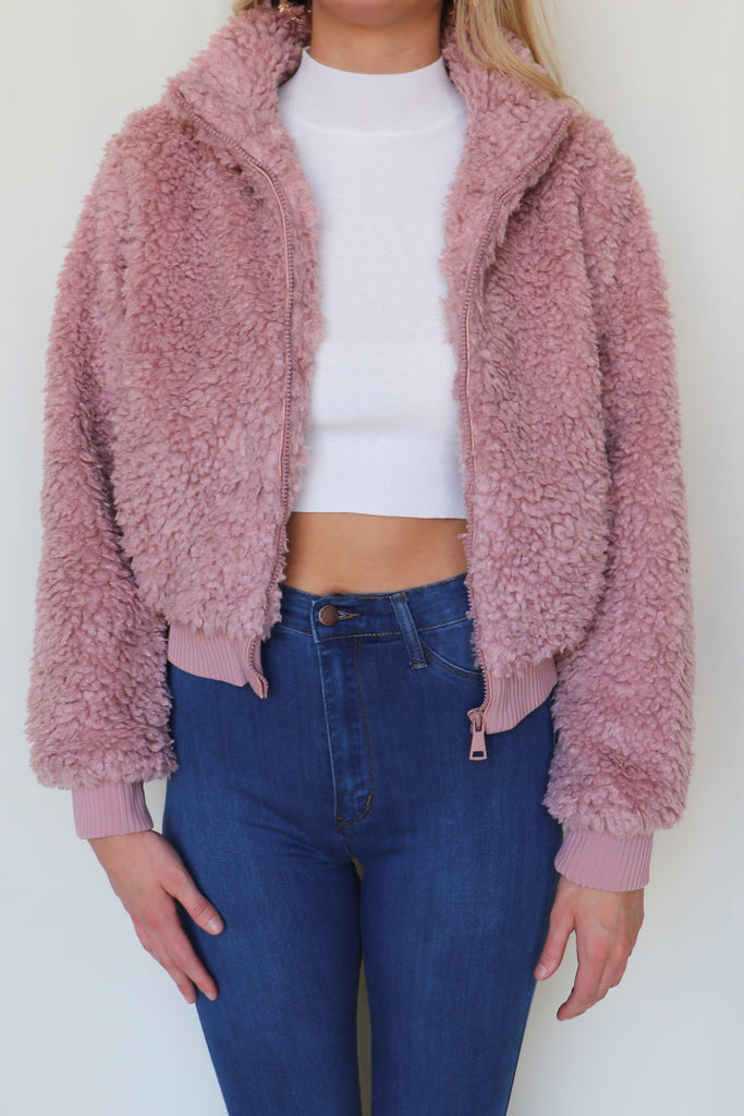 BOSTON MAUVE BOMBER JACKET | Love Tree Fashion Blu Spero online shopping