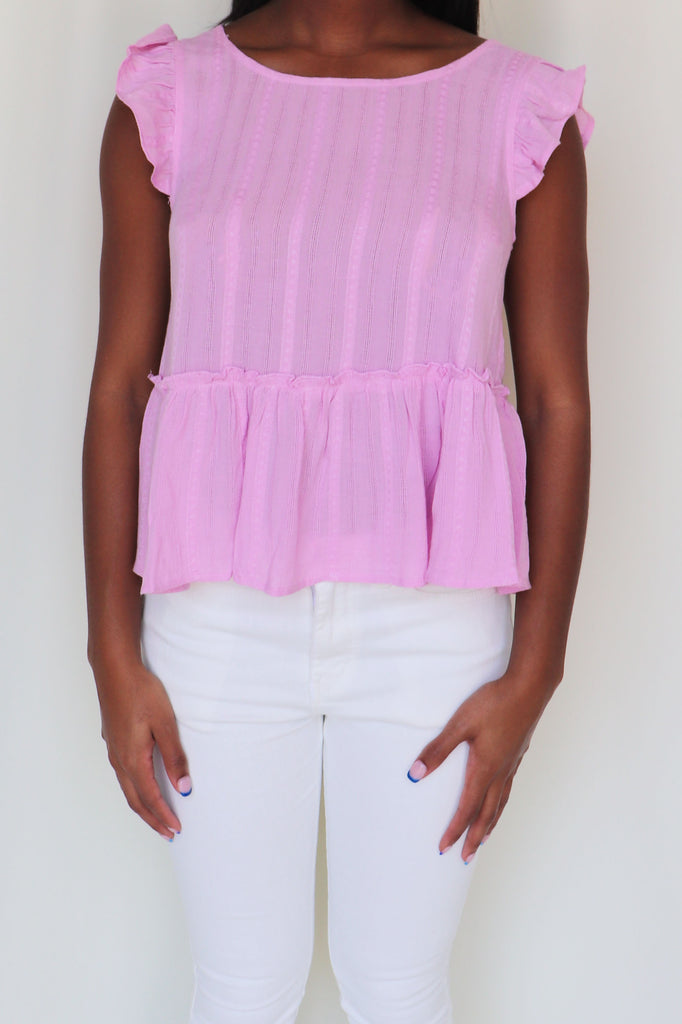 KEEP CALM PINK SOLID WOVEN TOP