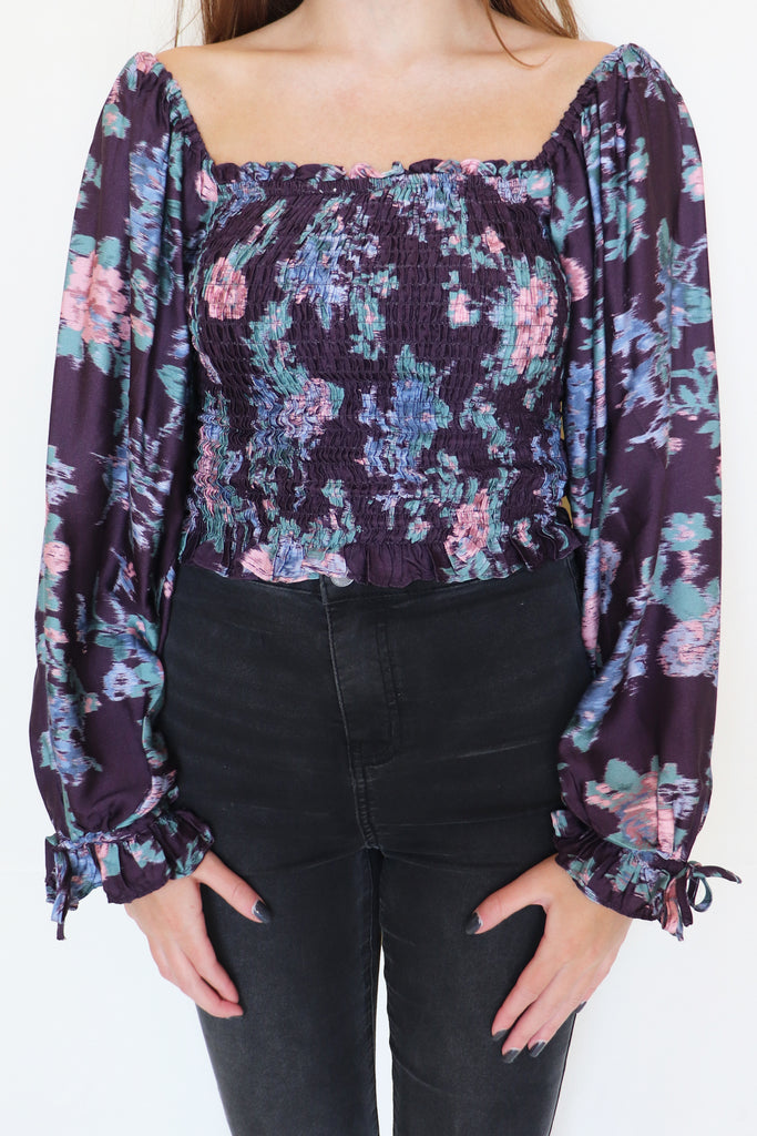 BE THE CURE FLORAL SMOCKED TOP | Olivaceous Blu Spero online shopping