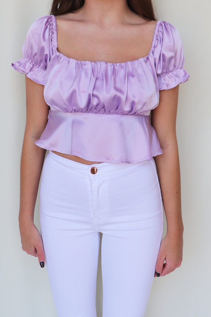 LOVING YOU SATIN CROP TOP