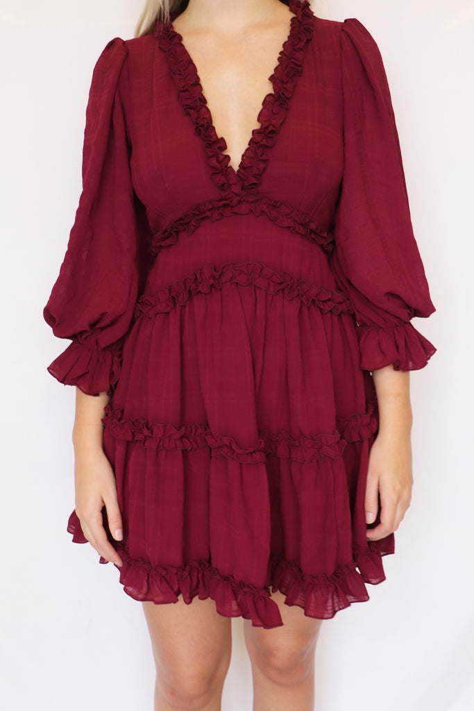 DEEP OBSESSION BURGUNDY MINI DRESS | ONE AND ONLY Blu Spero online shopping