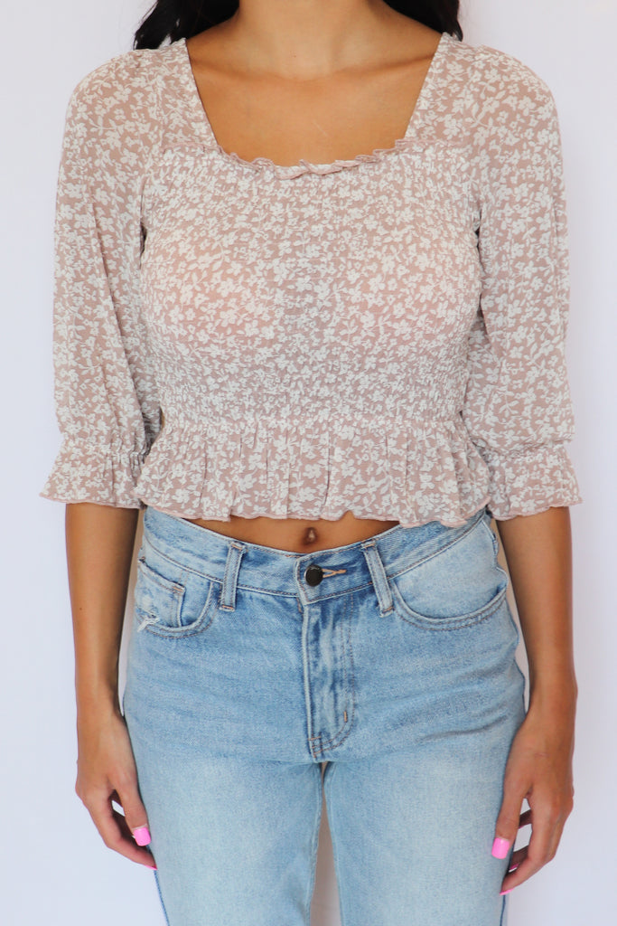 SWEET MELODY TAUPE MESH TOP | LE LIS Blu Spero online shopping