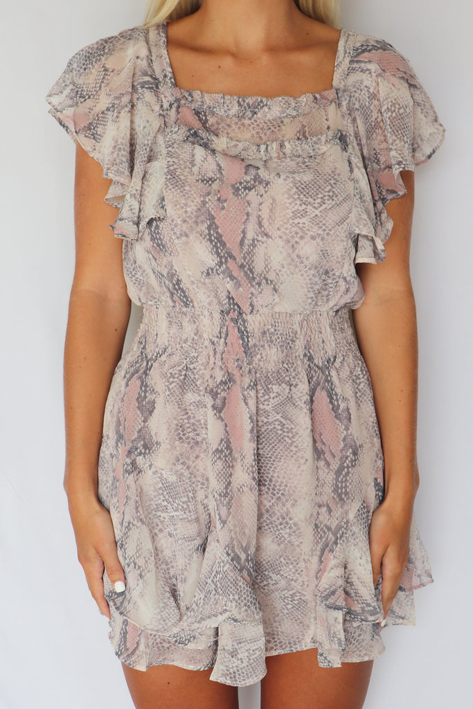 WHOLESOME HONEY SNAKE PRINT DRESS | OLIVACEOUS Blu Spero online shopping