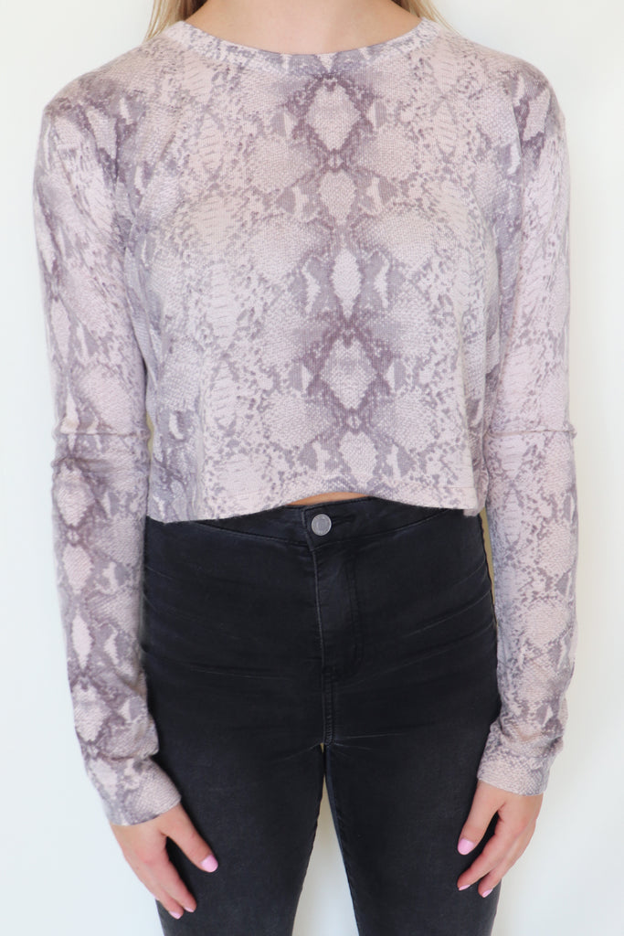 HEAVENLY HYACINTH SNAKE PRINT TOP | Olivaceous Blu Spero online shopping
