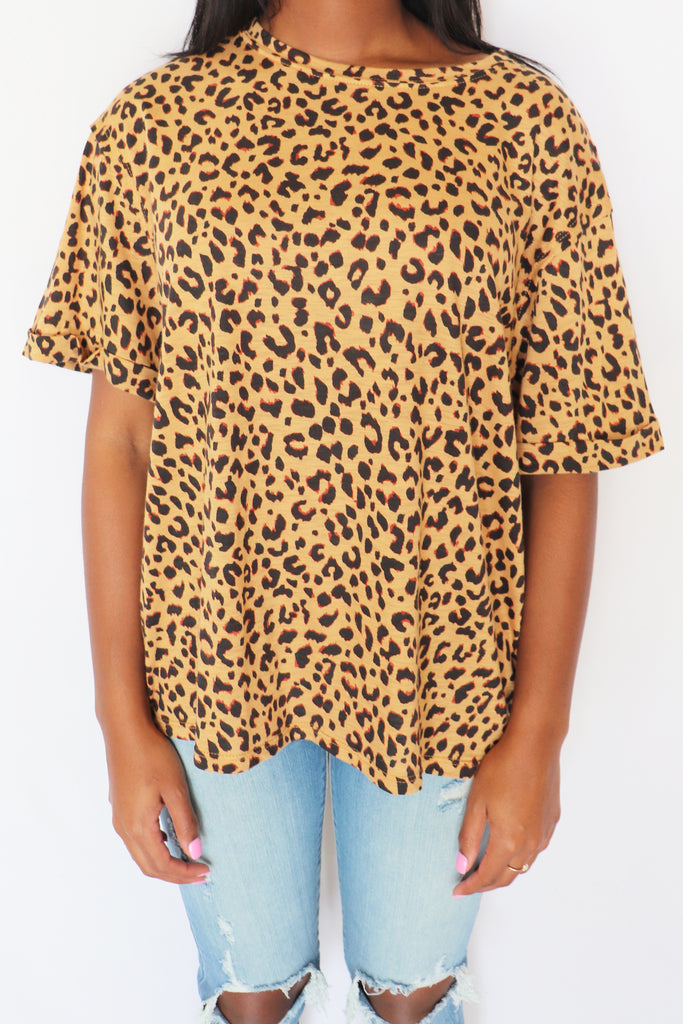 RAISE YOUR HAND LEOPARD T-SHIRT | BY TOGETHER Blu Spero online shopping