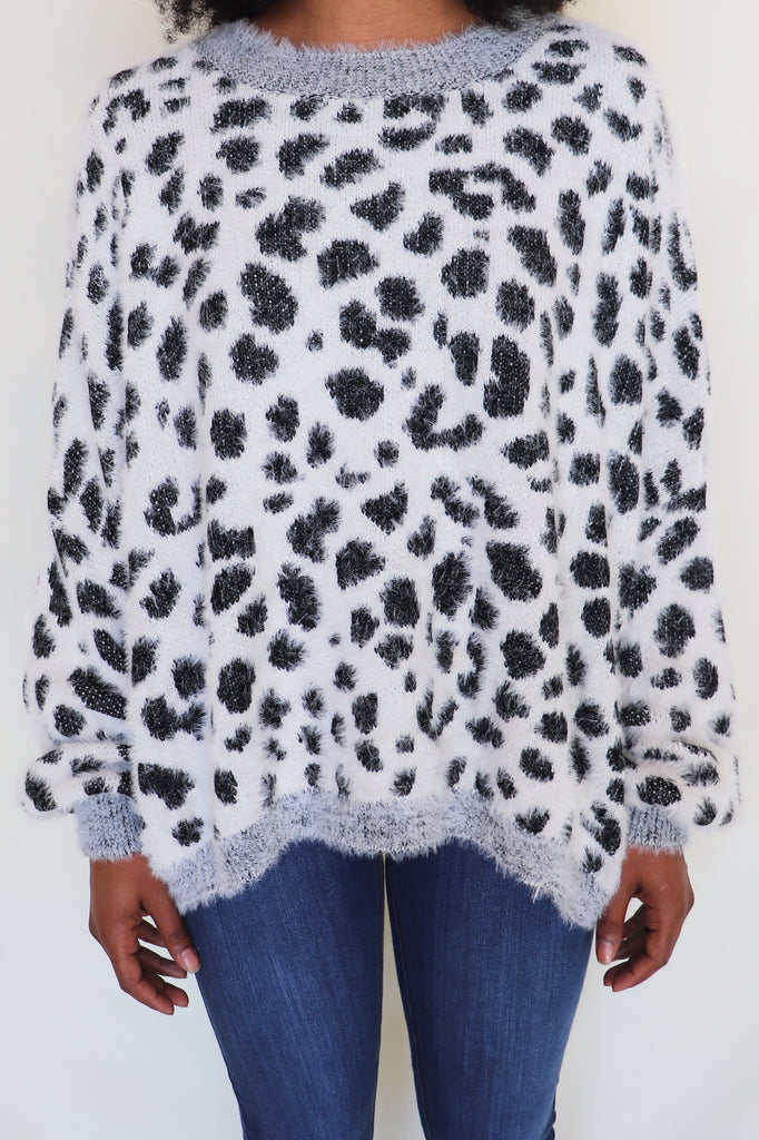 COZY LEOPARD SWEATER SWEATER | AND THE WHY Blu Spero online shopping