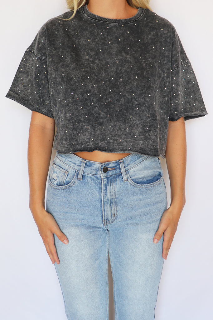 SHINE FOREVER RHINESTONE CROPPED TOP | LE LIS Blu Spero online shopping