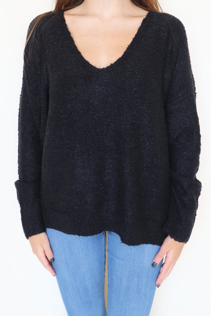 STROLL ALONG KNITTED BLACK SWEATER | HYFVE Blu Spero online shopping
