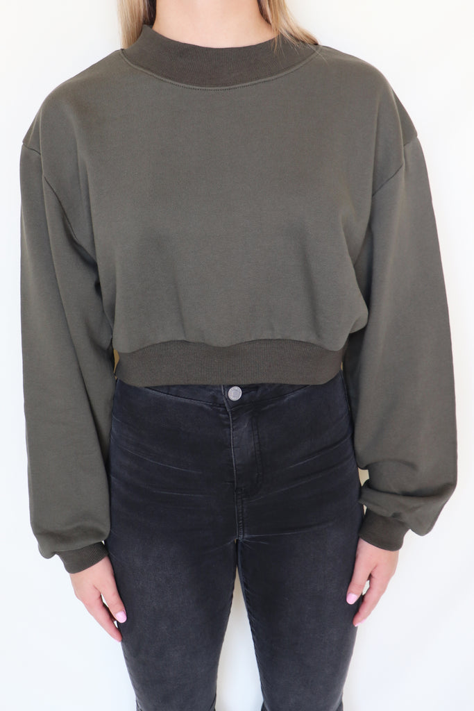COME HERE BABY CROPPED SWEATSHIRT | Olivaceous Blu Spero online shopping