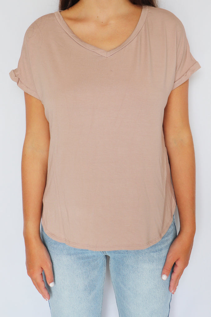 CLASSIC TAUPE TEE | GINGER G Blu Spero online shopping