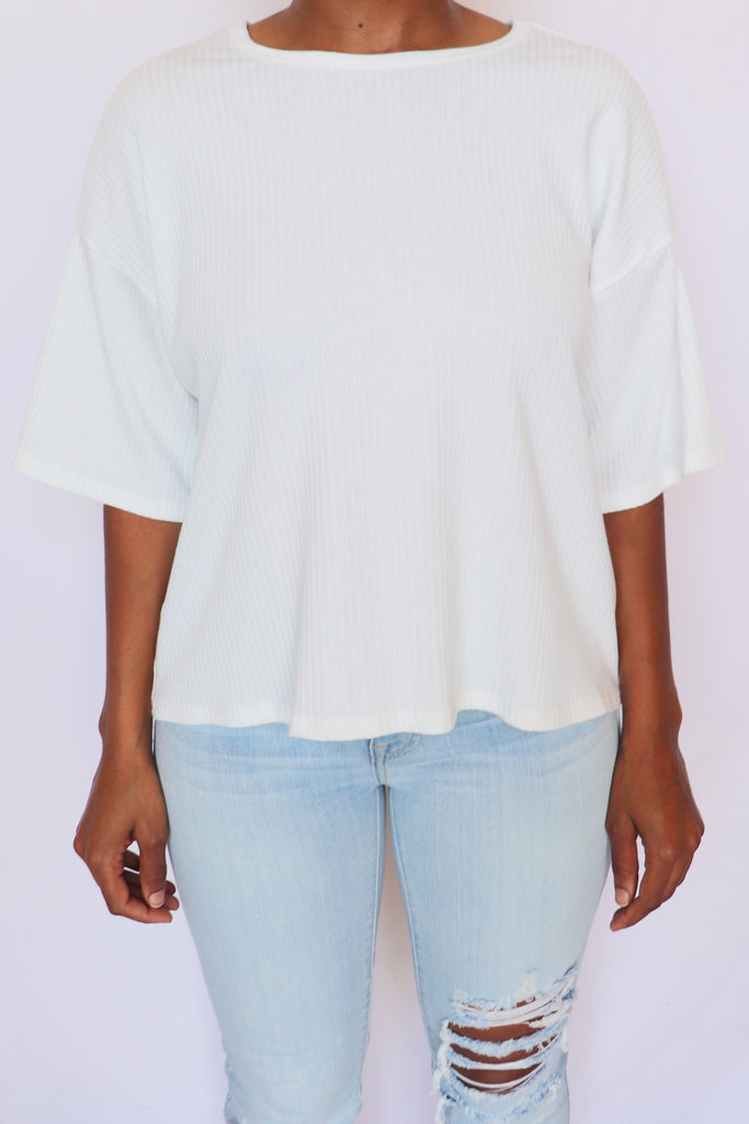 LIVE MY WAY RIBBED TOP - 2 COLORS