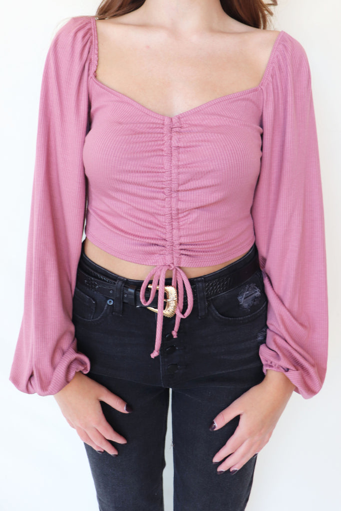 ROCK IT FRONT SHIRRING CROP TOP | BLUE BLUSH Blu Spero online shopping