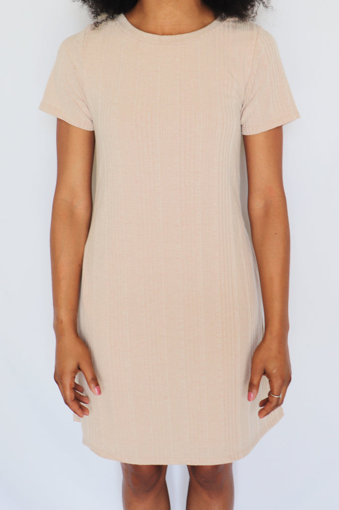 SOMEDAY SOON TAUPE T-SHIRT DRESS | SAINTS AND HEARTS Blu Spero online shopping