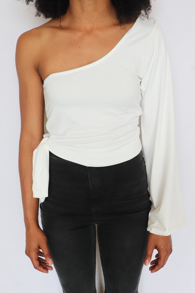 BEFORE YOU GO ONE-SHOULDER TOP - 2 COLORS