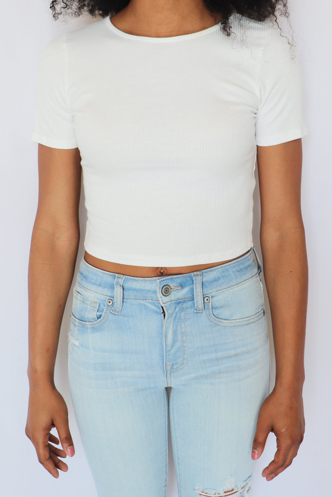 CLOCK STRIKES CROPPED TEE - 2 COLORS | BLUE BLUSH Blu Spero online shopping
