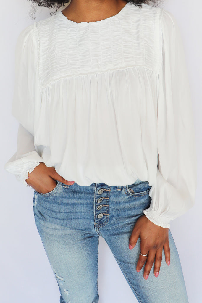 SOFT SERVE OFF WHITE SATIN BLOUSE | MUSTARD SEED Blu Spero online shopping