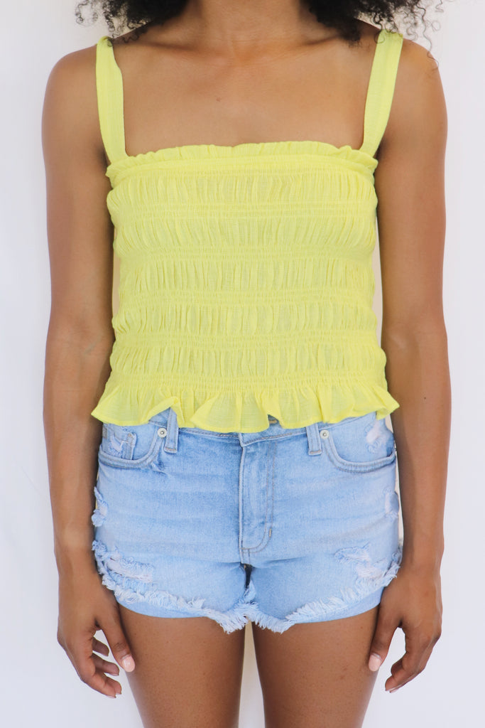 BABE'S CLUB BRIGHT YELLOW TUBE TOP | Lush Blu Spero online shopping