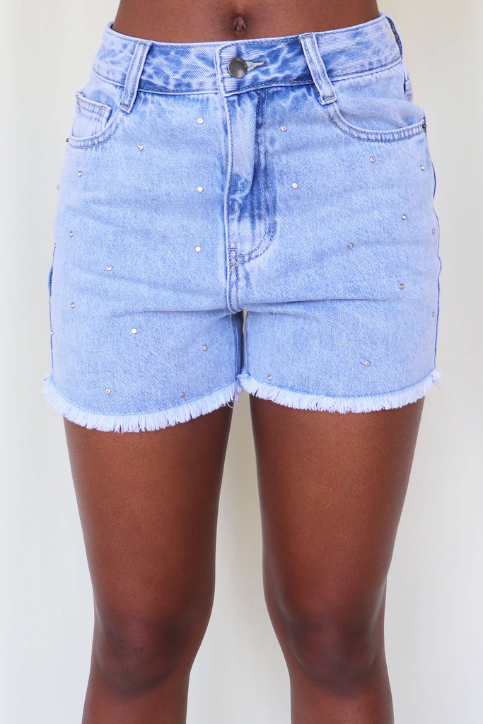 JUST GO FOR IT RHINESTONE FRONT MOM SHORT