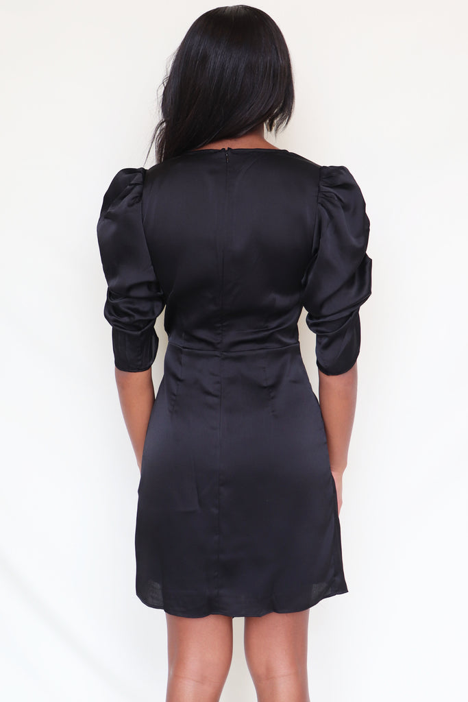 BEARING WITNESS BLACK MINI DRESS