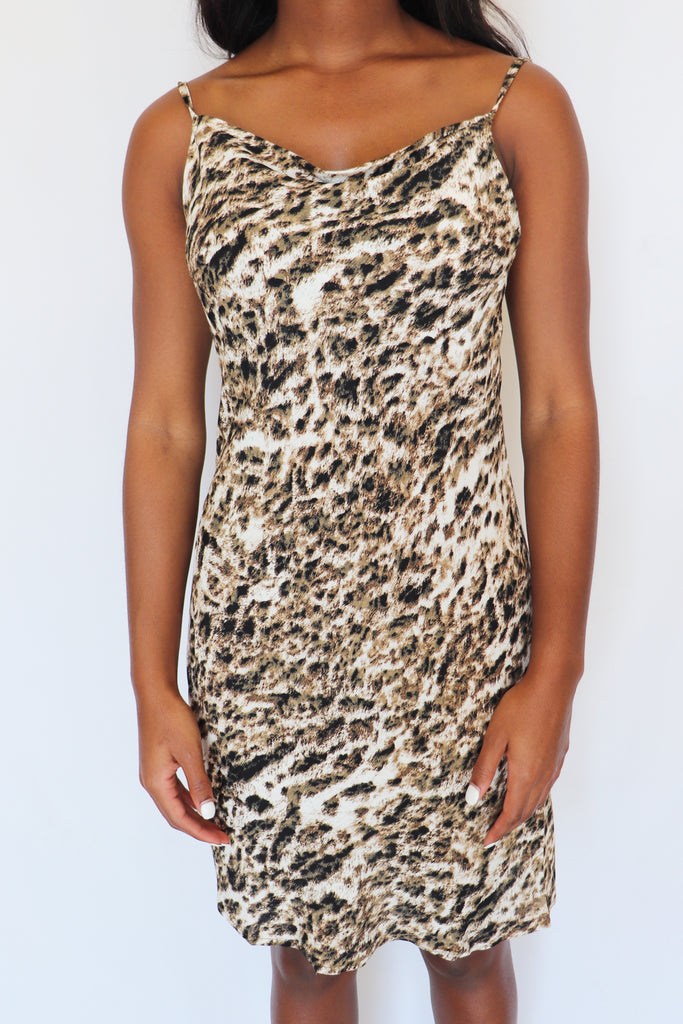 ON THE PROWL LEOPARD MINI DRESS | Olivaceous Blu Spero online shopping