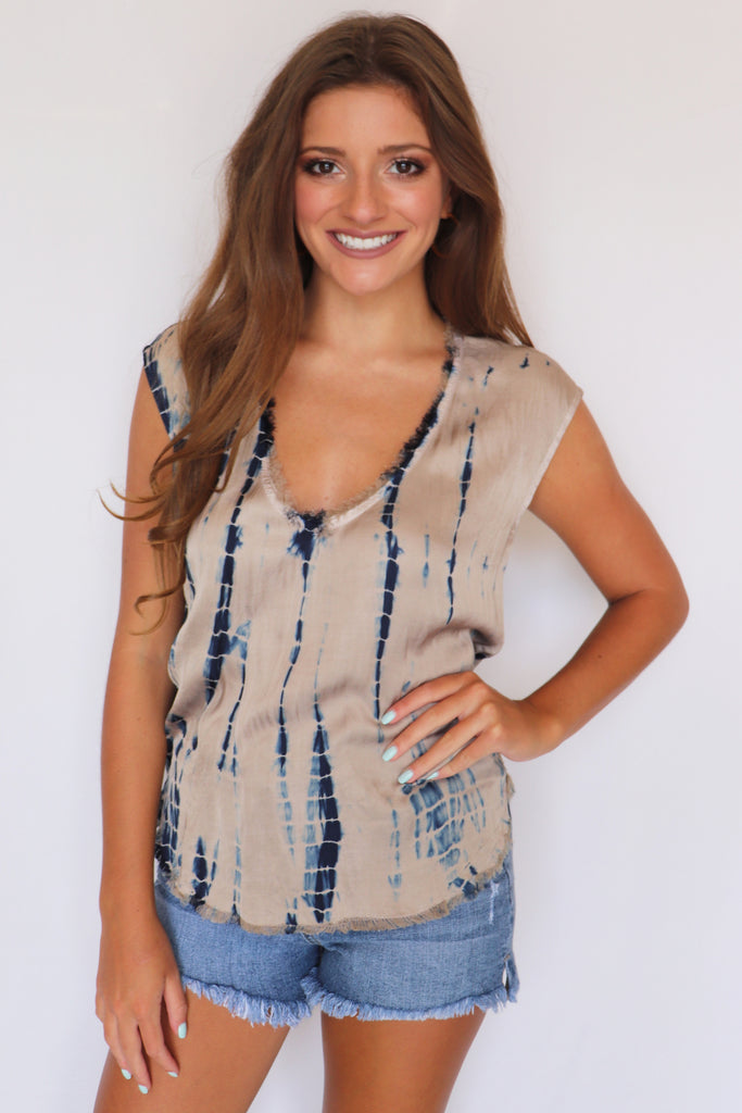 GIVE ME EVERYTHING TIE-DYE TOP | Olivaceous Blu Spero online shopping