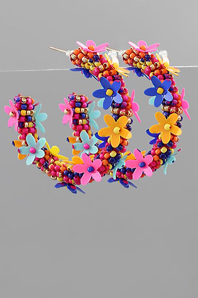 MULTICOLORED FLORAL HOOPS | GOLDEN STELLA Blu Spero online shopping