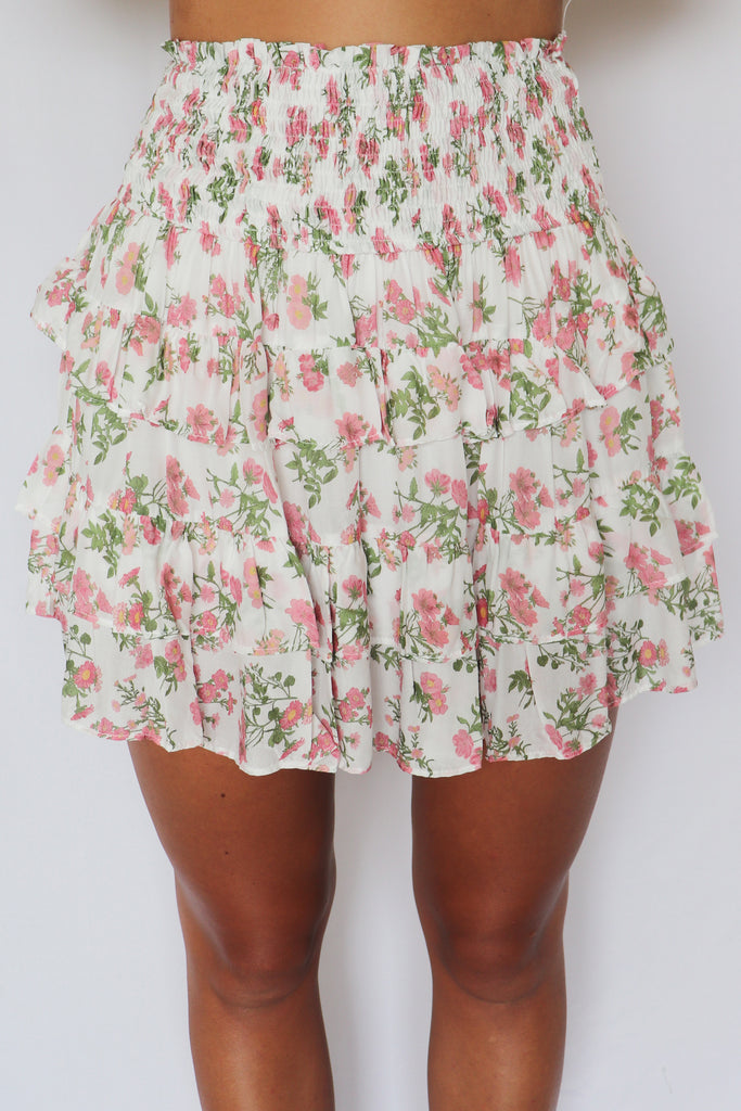KEYS TO THE CITY FLORAL SKIRT