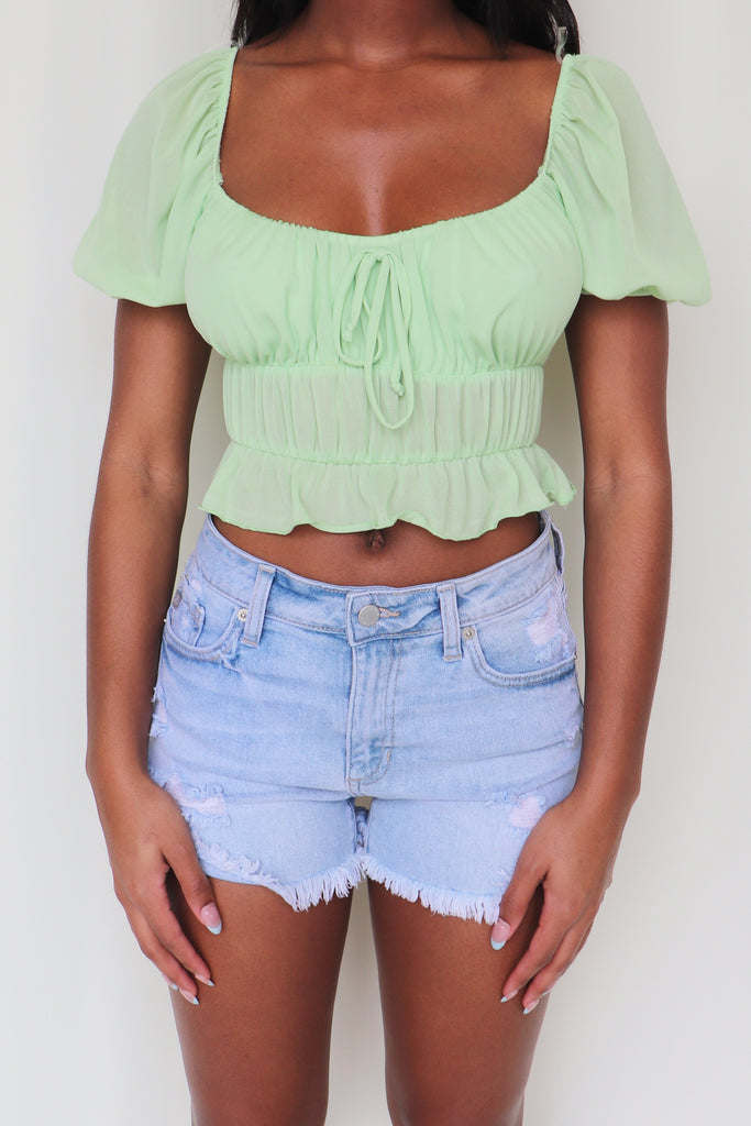 TROPIC LIKE IT'S HOT CROP TOP - 2 COLORS