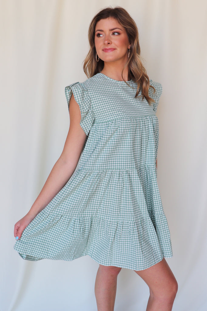SHORT TRIP GINGHAM PRINT DRESS