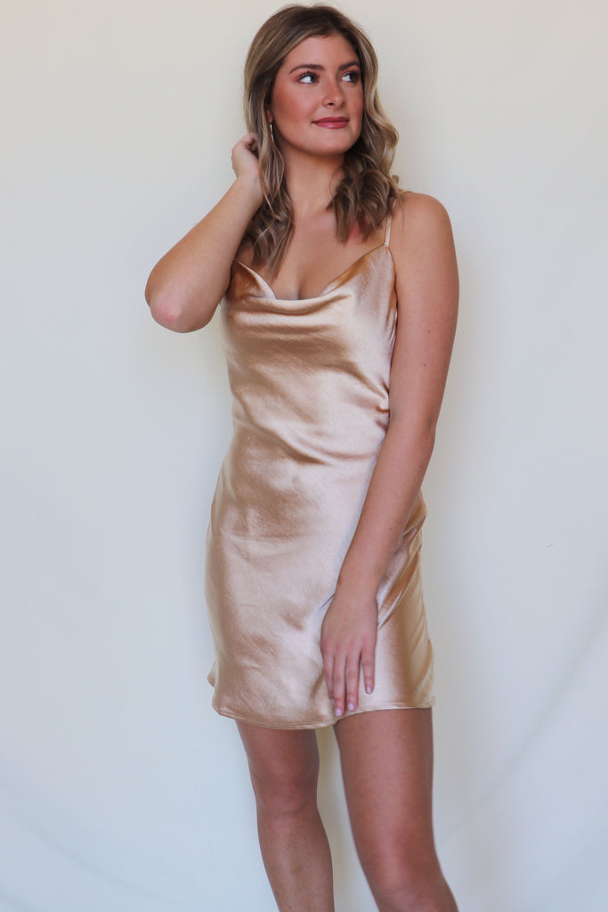 WILDLY FLIRTY SLIP DRESS - 2 COLORS