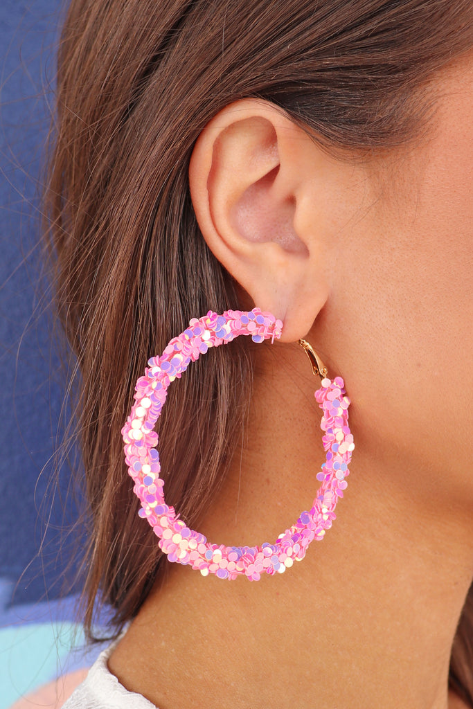 GLITTER HOOPS - 2 COLORS