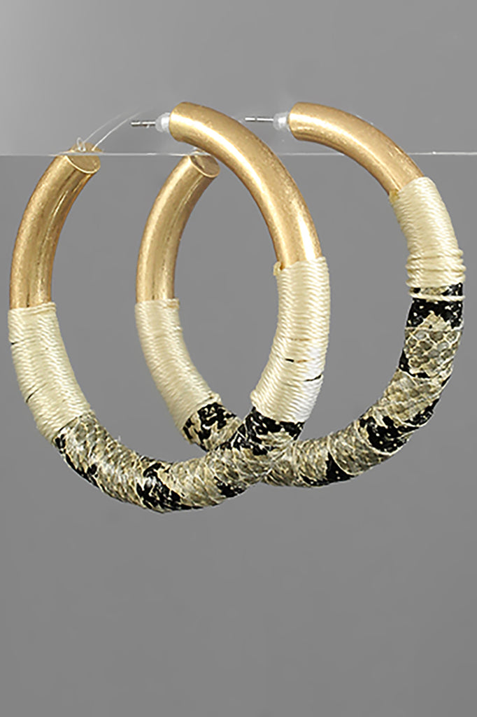 IVORY SNAKE AND THREAD WRAP HOOPS