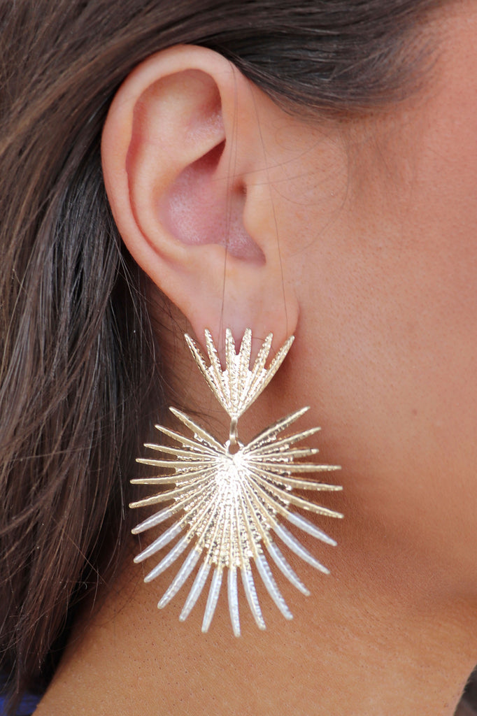 METAL FRINGE DANGLE EARRINGS