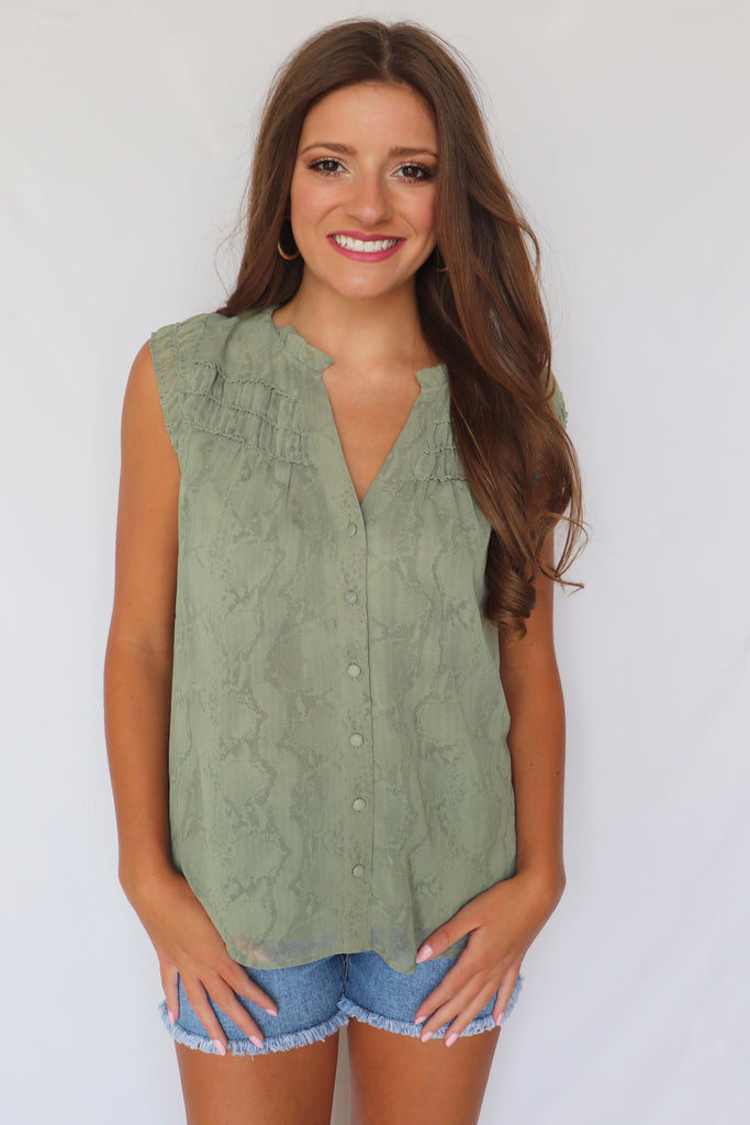ANYTHING BUT ORDINARY OLIVE TOP