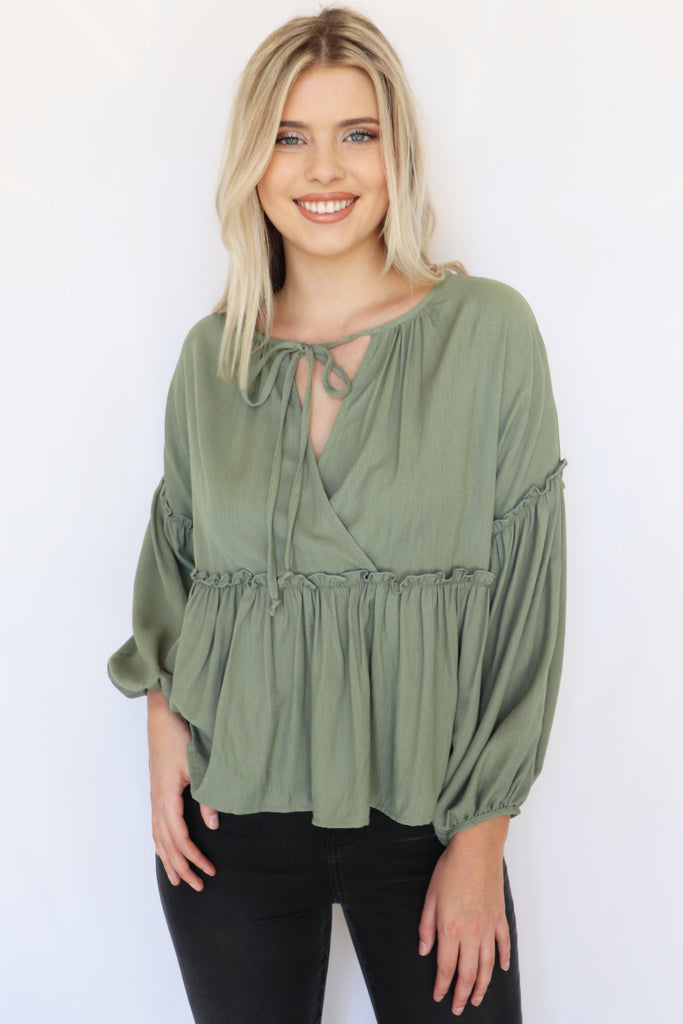 ON MY OWN PEPLUM OLIVE TOP | Peach Love Blu Spero online shopping