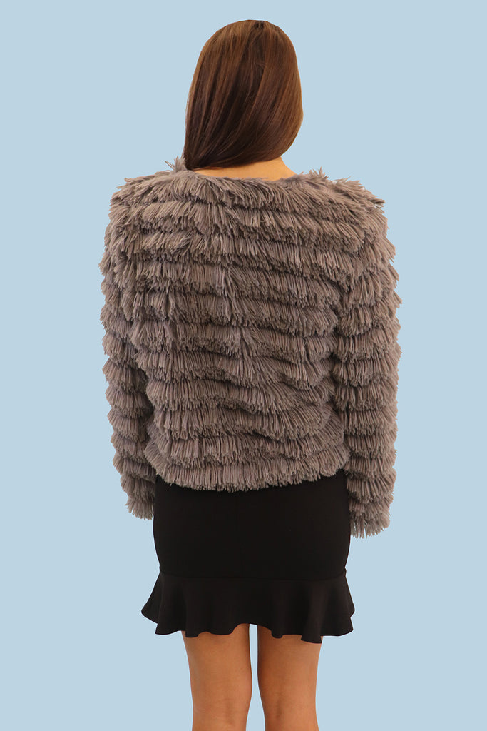 ALMOST FAMOUS FAUX FUR CHARCOAL JACKET