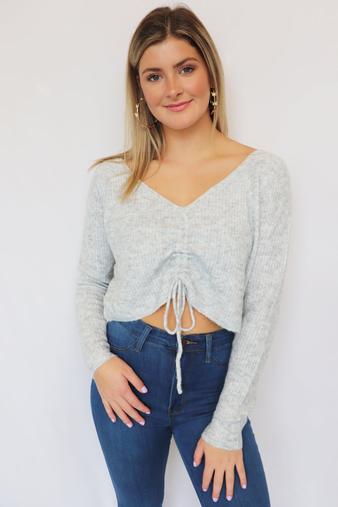 MY SUNSHINE RUCHED SWEATER | Olivaceous Blu Spero online shopping