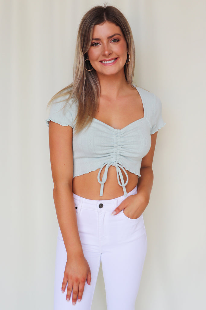 ENJOY THE TIME SAGE CROP TOP